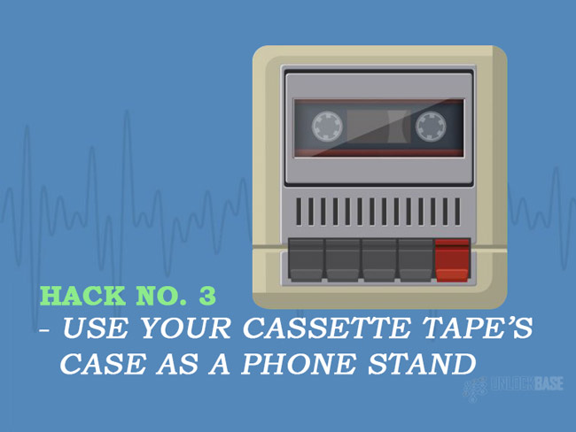 Use your cassette tape's case as a phone stand