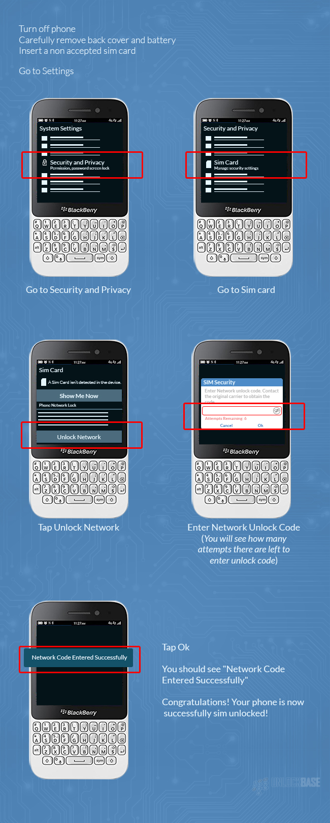 How to Enter a Permanent SIM Unlock Code for Blackberry Phone