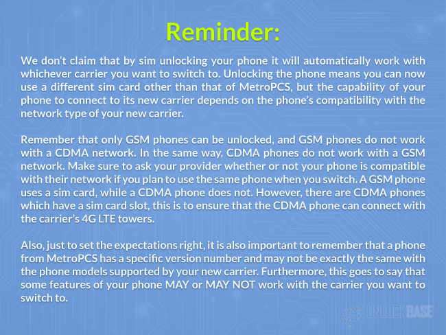 Reminder When Unlocking a MetroPCS Phone