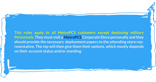 Rules apply to all MetroPCS customers except deploying military Personnels