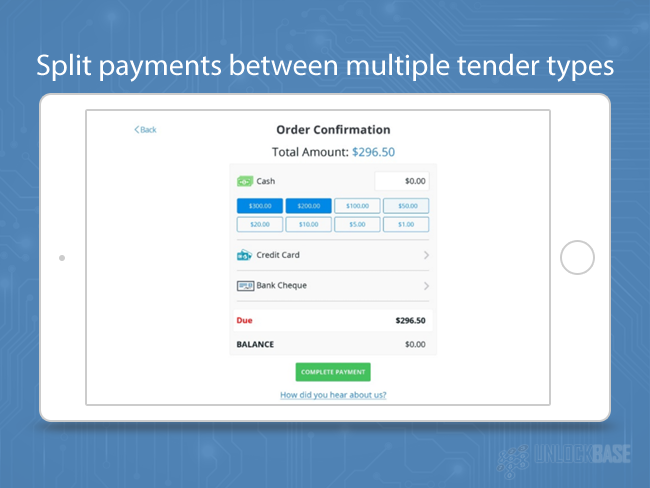 Split payments between multiple tender types