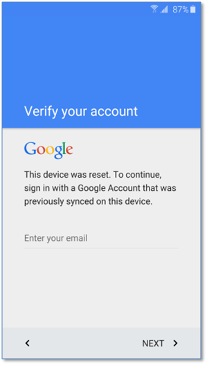 FRP Lock Google Verify Screen