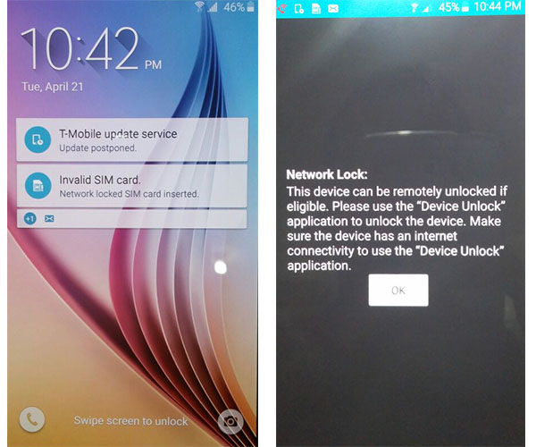 "Original ""Locked Screen"" of a Samsung Galaxy S6 from T-Mobile USA"