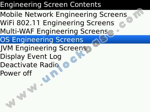 BlackBerry OS Engineering Screens