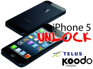 Unlock iPhone 5 from Telus & Koodo Canada